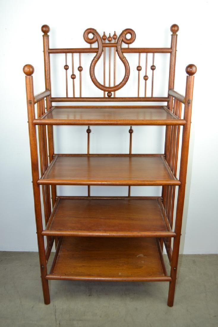 ANTIQUE AMERICAN OAK STICK & BALL 4 TIER STAND
