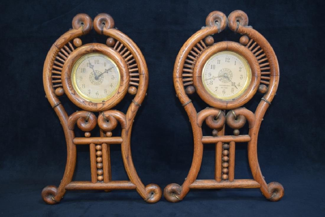 PR FERGUSON BROS NEW YORK STICK & BALL OAK CLOCKS