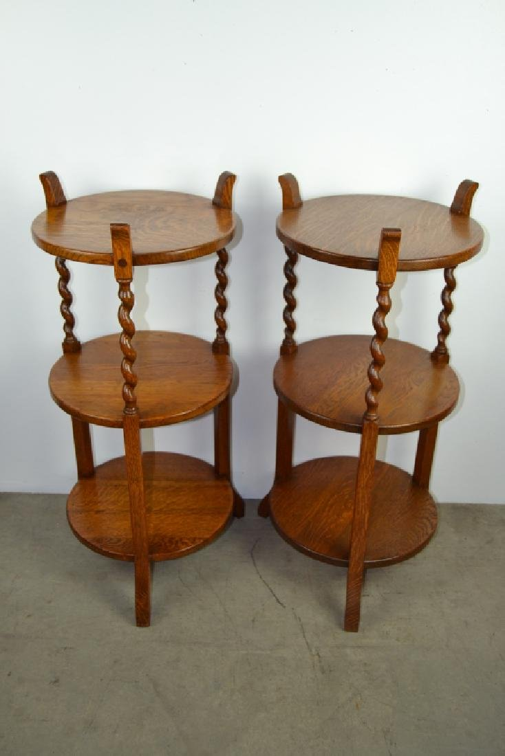 PAIR 1910'S AMERICAN OAK BARLEY TWIST STANDS