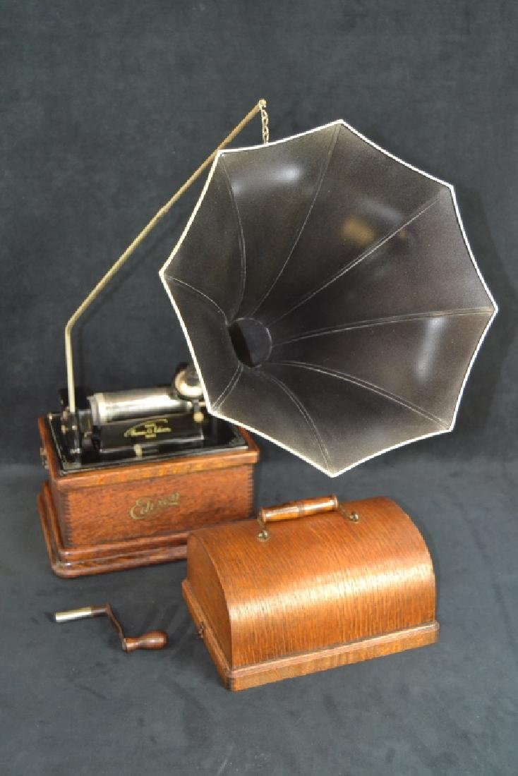 EDISON MODEL A FIRESIDE PHONOGRAPH WITH HORN