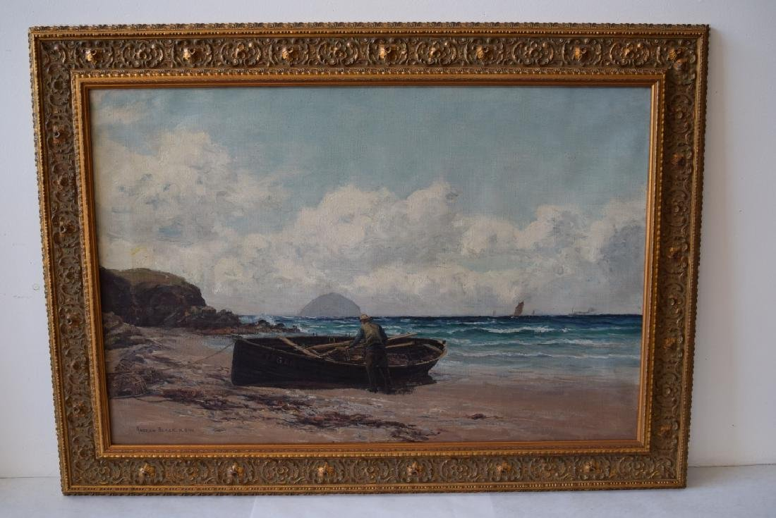 ANDREW BLACK O/C FISHERMAN WITH BOAT