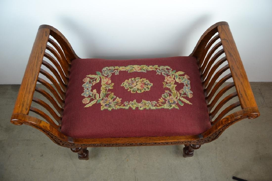 NICELY CARVED 1900'S AMERICAN OAK WINDOW BENCH - 2