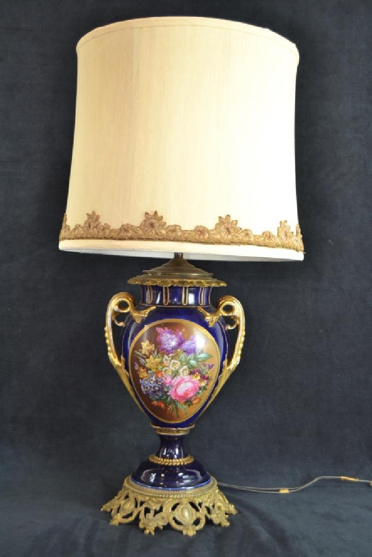 SEVRES STYLE HAND PAINTED PORCELAIN LAMP