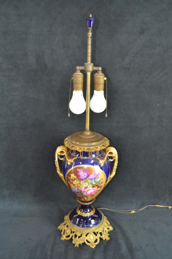 SEVRES STYLE HAND PAINTED PORCELAIN LAMP - 2
