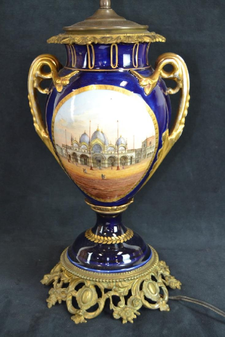 SEVRES STYLE HAND PAINTED PORCELAIN LAMP - 3