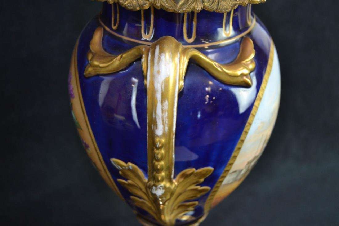 SEVRES STYLE HAND PAINTED PORCELAIN LAMP - 5