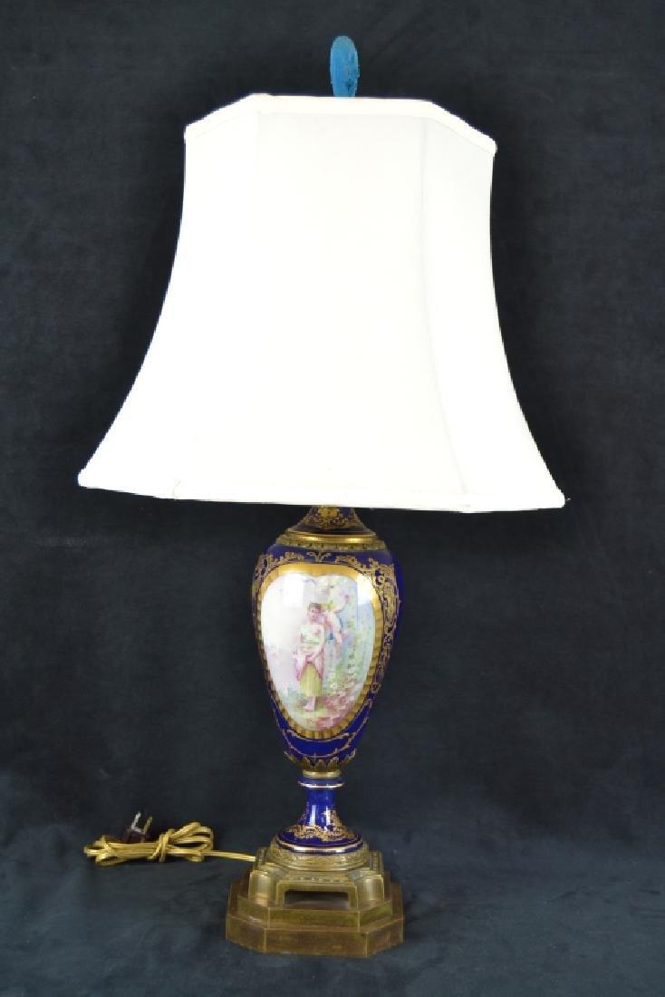 ANTIQUE SEVRES STYLE PORCELAIN TABLE LAMP