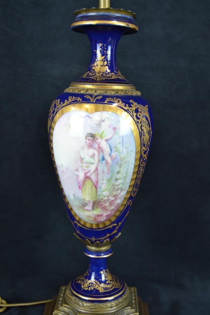 ANTIQUE SEVRES STYLE PORCELAIN TABLE LAMP - 2
