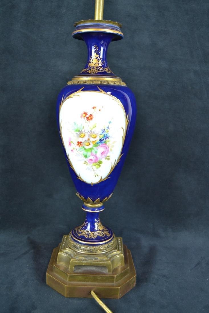 ANTIQUE SEVRES STYLE PORCELAIN TABLE LAMP - 3
