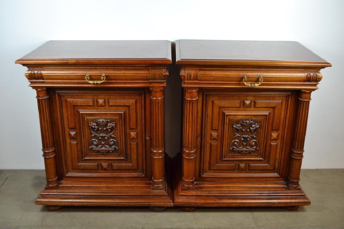 PAIR 1900'S WALNUT HALL CABINETS