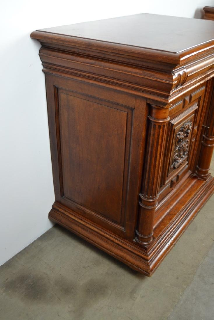 PAIR 1900'S WALNUT HALL CABINETS - 4