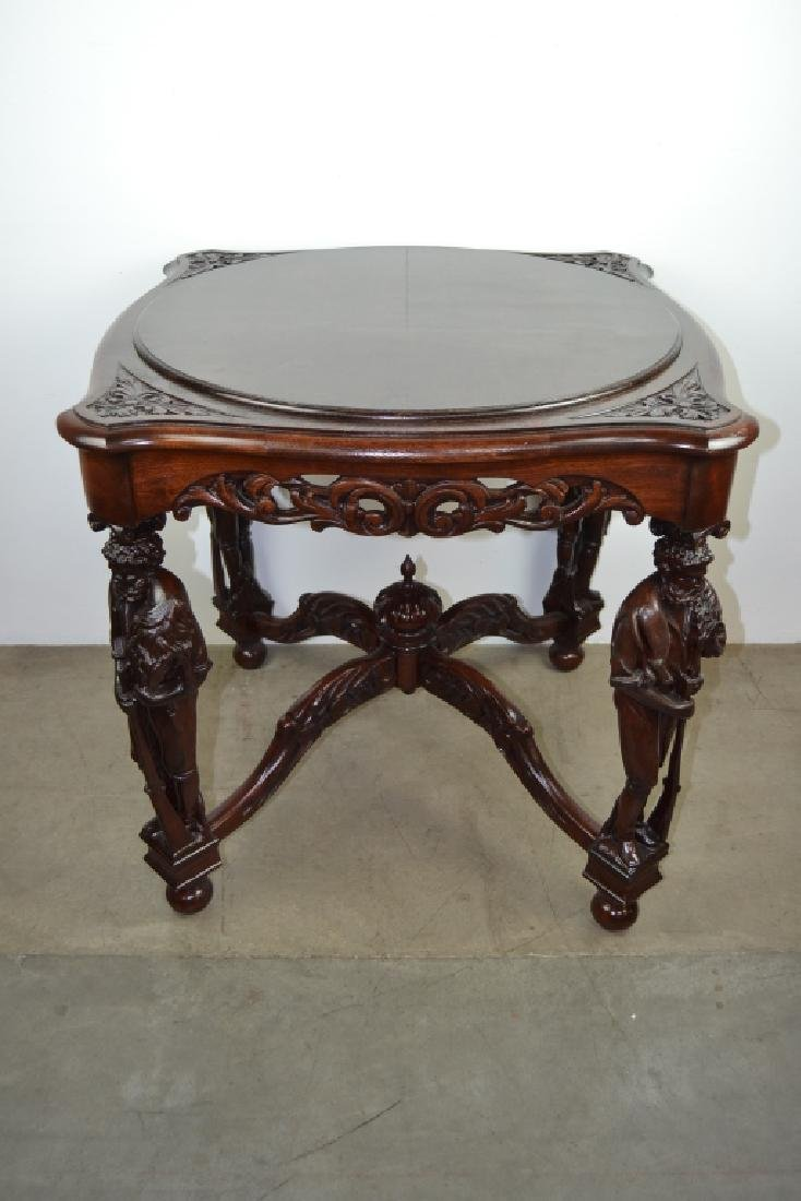 ANTIQUE CARVED HORNER STYLE FIGURAL PARLOR TABLE