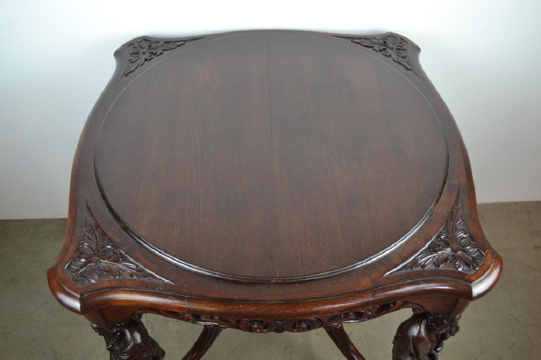 ANTIQUE CARVED HORNER STYLE FIGURAL PARLOR TABLE - 2