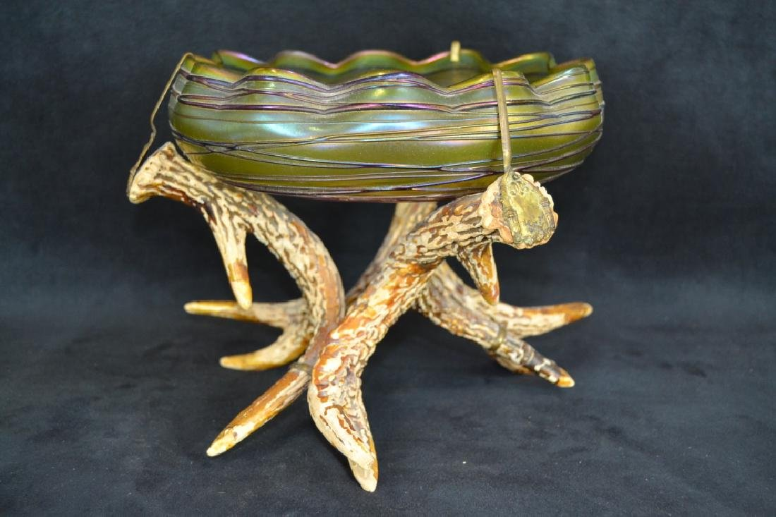 UNSIGNED LOETZ ART GLASS BOWL W/ FAUX ANTLER BASE