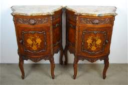 PAIR 1920S INLAID FRENCH MARBLE TOP NIGHTSTANDS