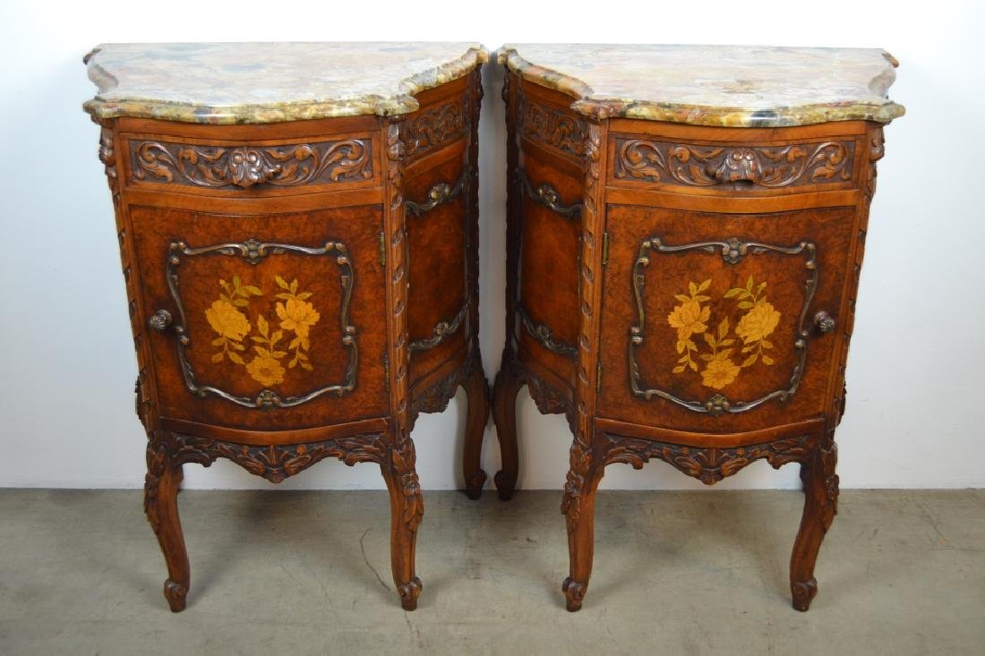 PAIR 1920'S INLAID FRENCH MARBLE TOP NIGHTSTANDS