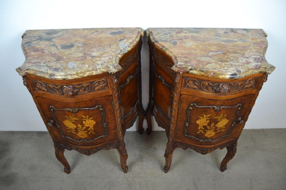 PAIR 1920'S INLAID FRENCH MARBLE TOP NIGHTSTANDS - 2