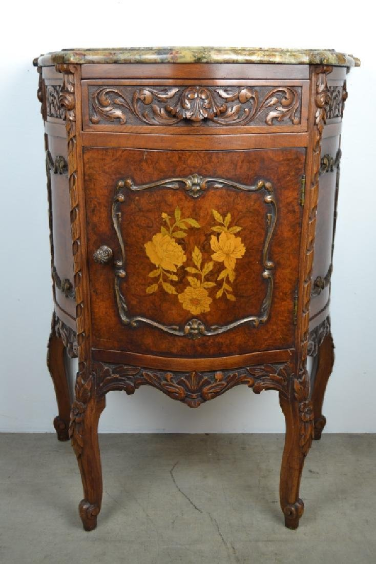 PAIR 1920'S INLAID FRENCH MARBLE TOP NIGHTSTANDS - 3