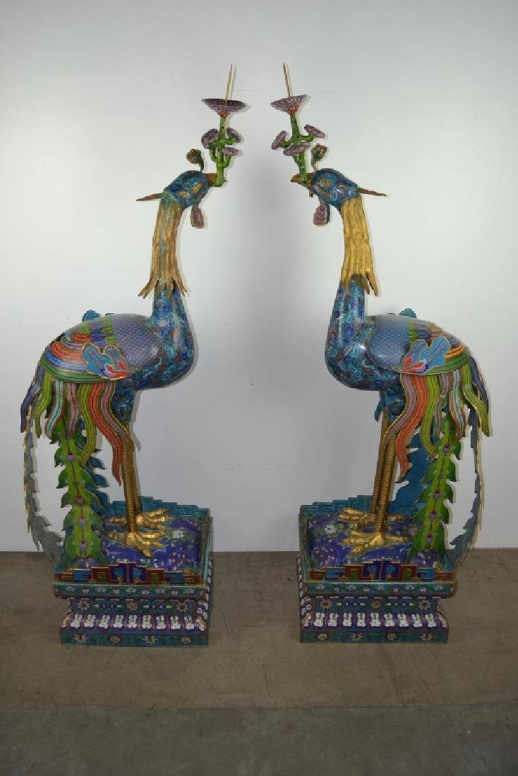 PAIR OF LIFESIZE PEACOCK CLOISONNE CANDLE HOLDERS