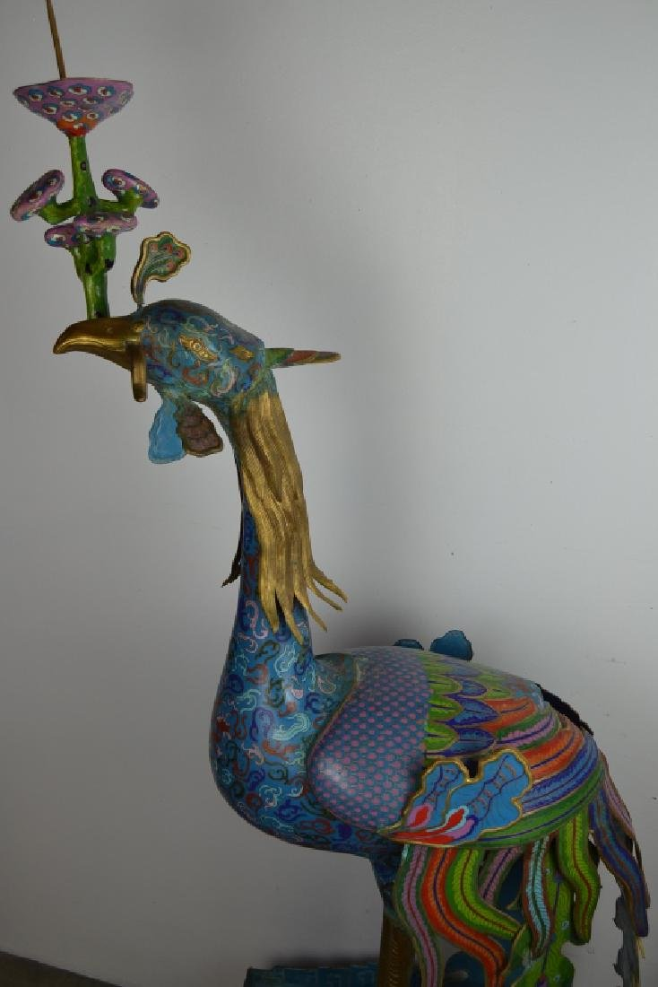 PAIR OF LIFESIZE PEACOCK CLOISONNE CANDLE HOLDERS - 5