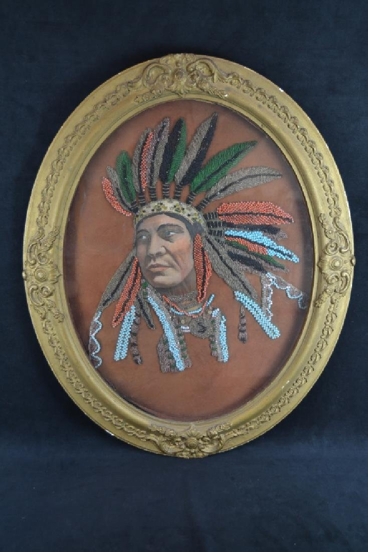 19TH C. BEADED INDIAN CHIEF PORTRAIT IROQUOIS?