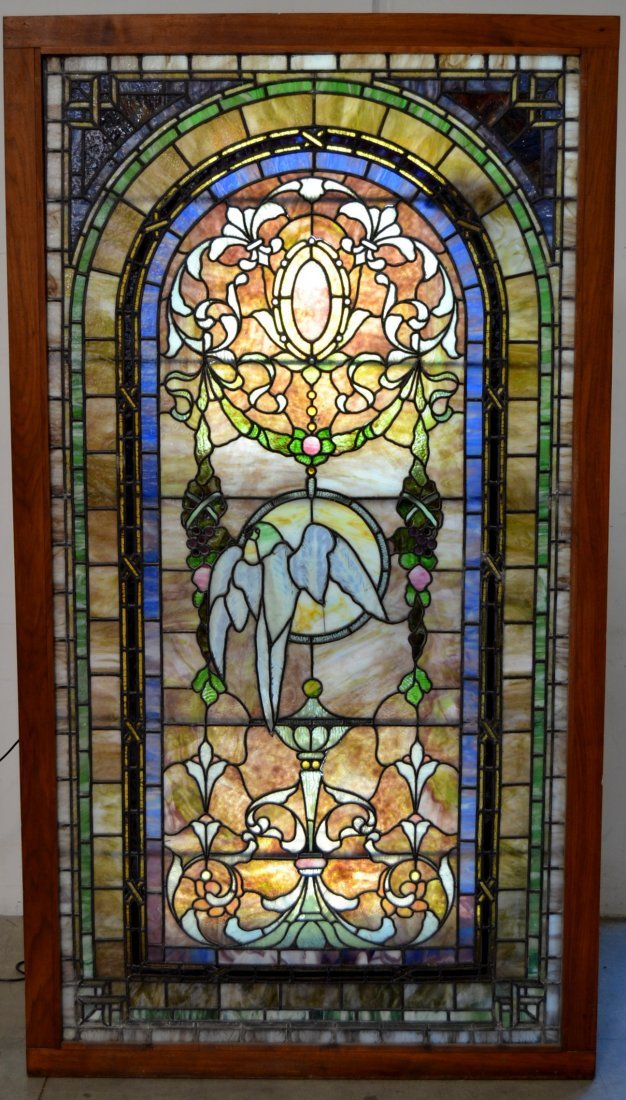 LARGE ATTRIBUTED TO TIFFANY STUDIOS LEADED WINDOW