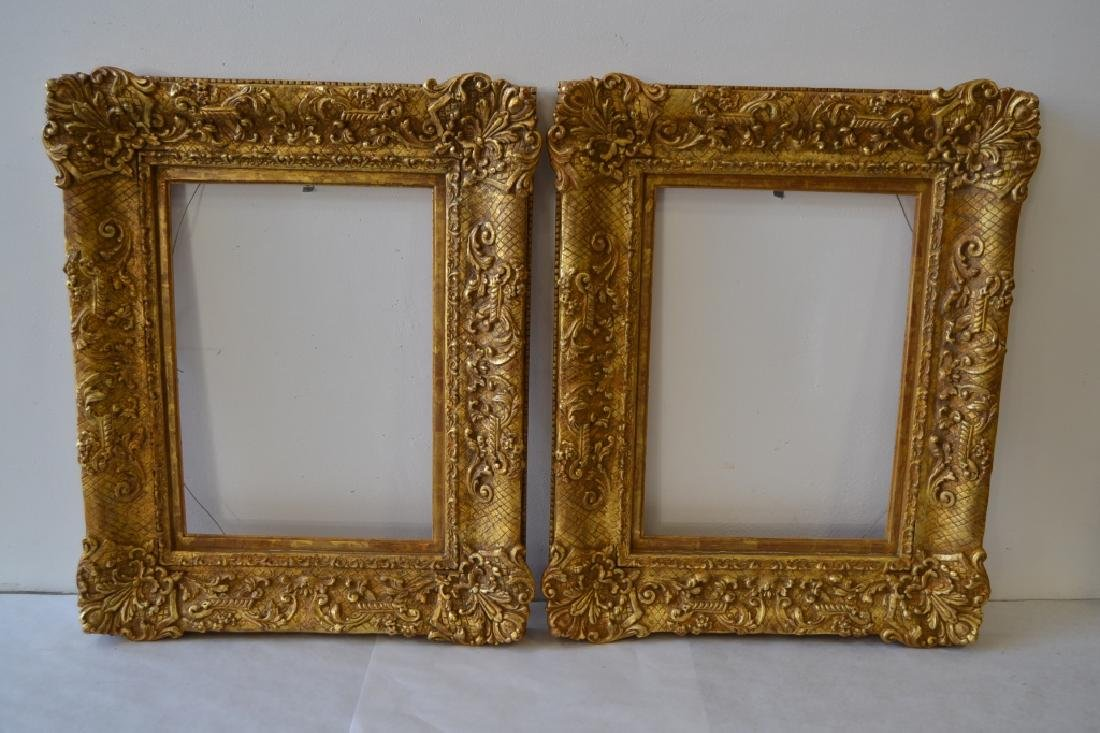 PAIR RICHARD TOBEY GOLD GILT PICTURE FRAMES