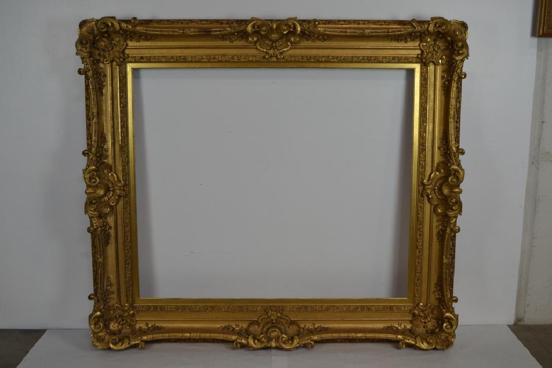LARGE VICTORIAN CARVED WOOD & GESSO PICTURE FRAME