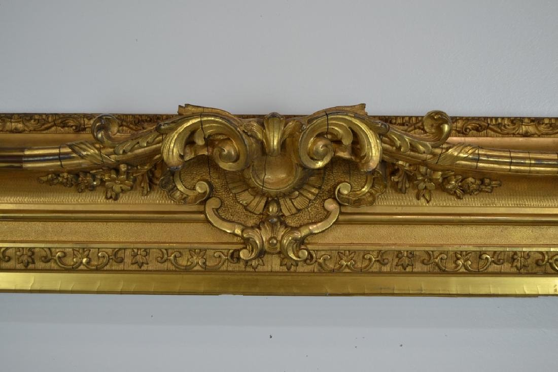 LARGE VICTORIAN CARVED WOOD & GESSO PICTURE FRAME - 3