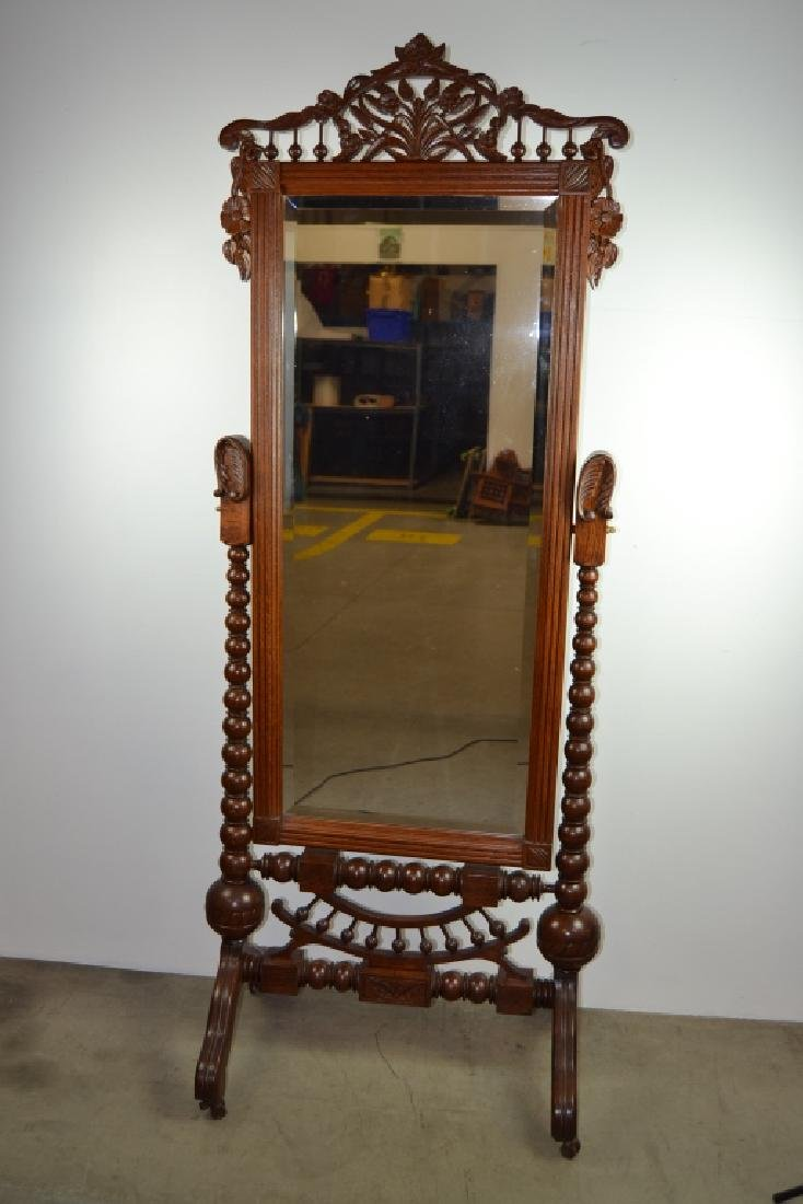 ANTIQUE AMERICAN OAK STICK & BALL CHEVAL MIRROR