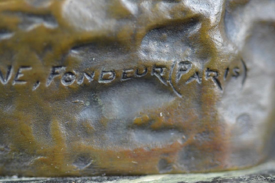 F. BARBEDIENNE FONDEUR PARIS BRONZE LION STATUE - 4