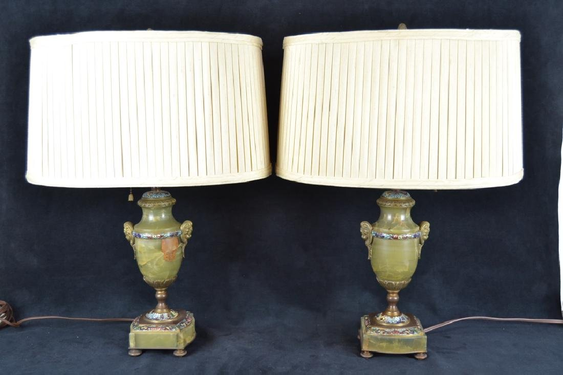 PAIR FRENCH ONYX & CHAMPLEVE TABLE LAMPS