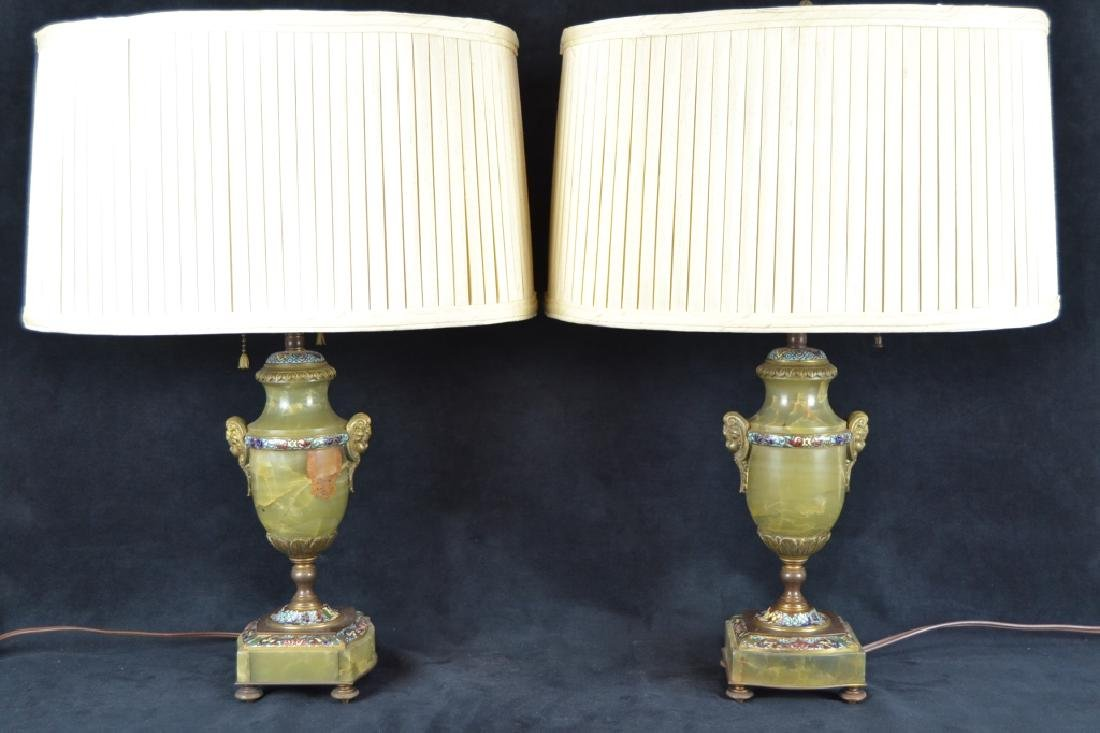 PAIR FRENCH ONYX & CHAMPLEVE TABLE LAMPS - 2