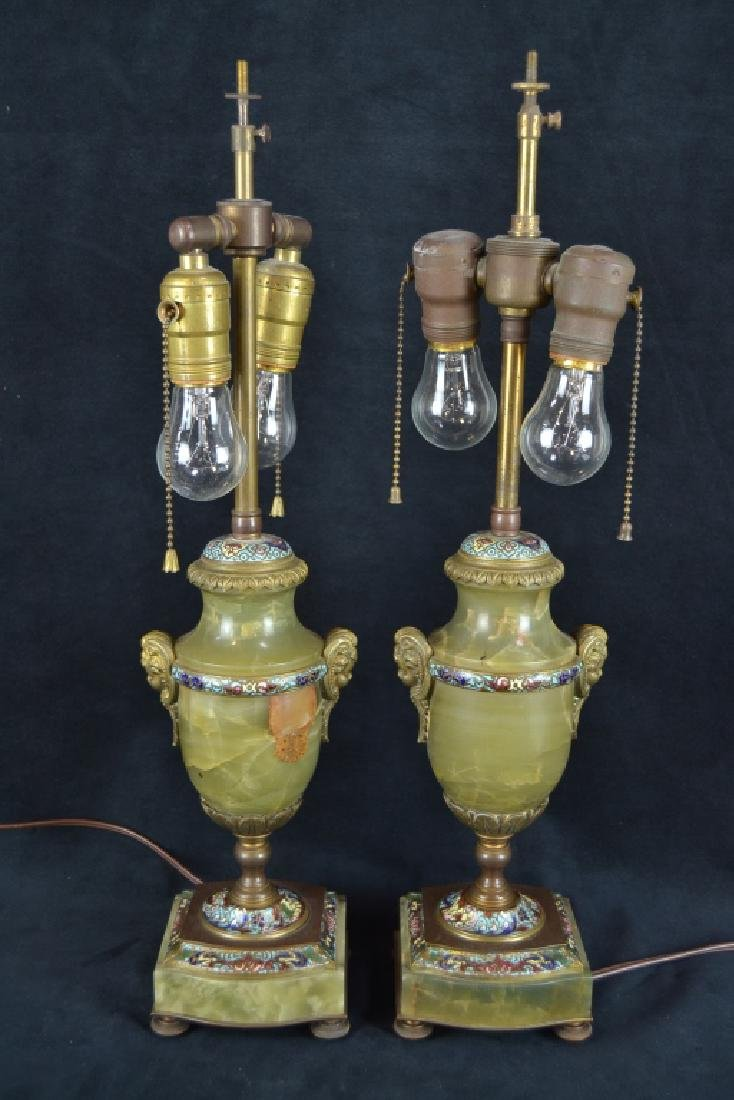 PAIR FRENCH ONYX & CHAMPLEVE TABLE LAMPS - 3