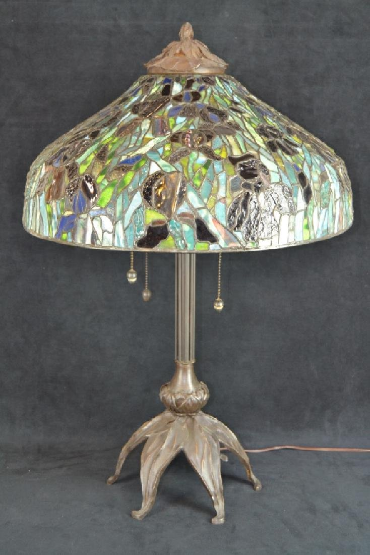 BAUER & COBLE STUDIOS LEADED GLASS BRONZE LAMP