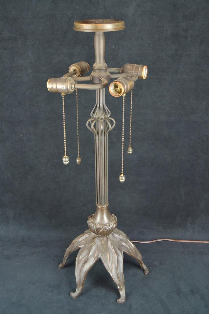 BAUER & COBLE STUDIOS LEADED GLASS BRONZE LAMP - 2