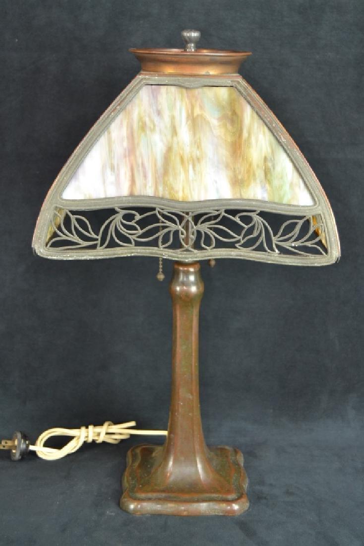 SIGNED HANDEL 4 PANEL SLAG GLASS TABLE LAMP - 4