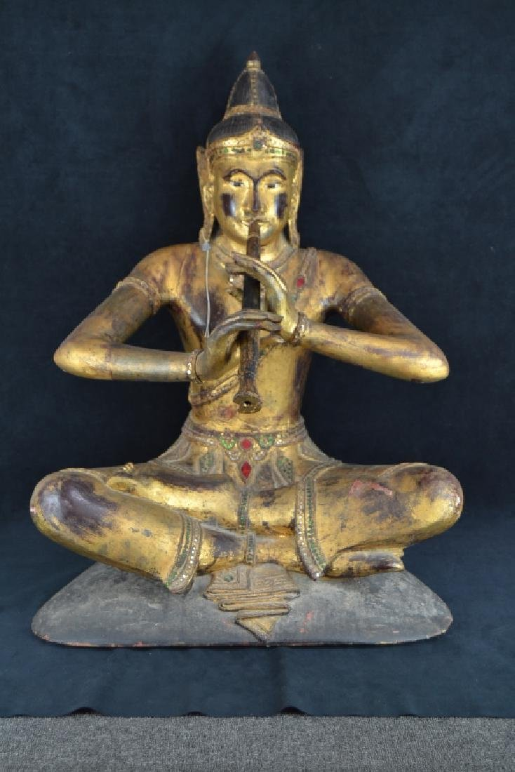 LARGE CARVED WOODEN THAI SEATED BUDDHA STATUE