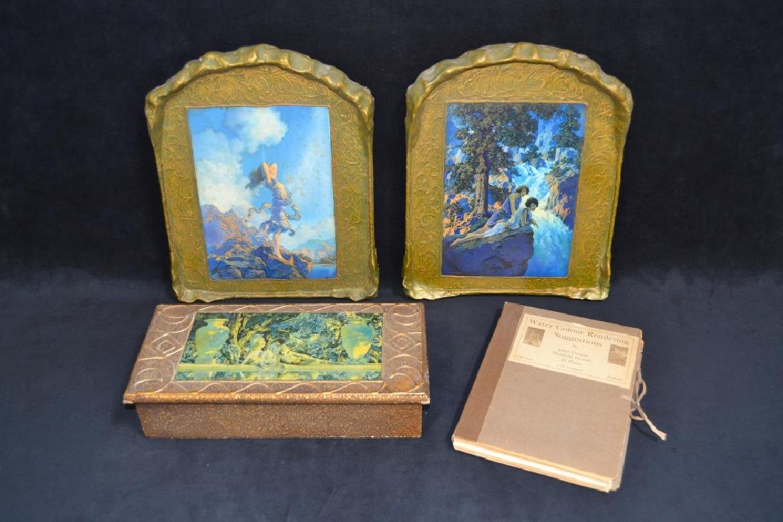 PAIR MAXFIELD PARRISH PRINTS WITH CANDY BOX & BOOK
