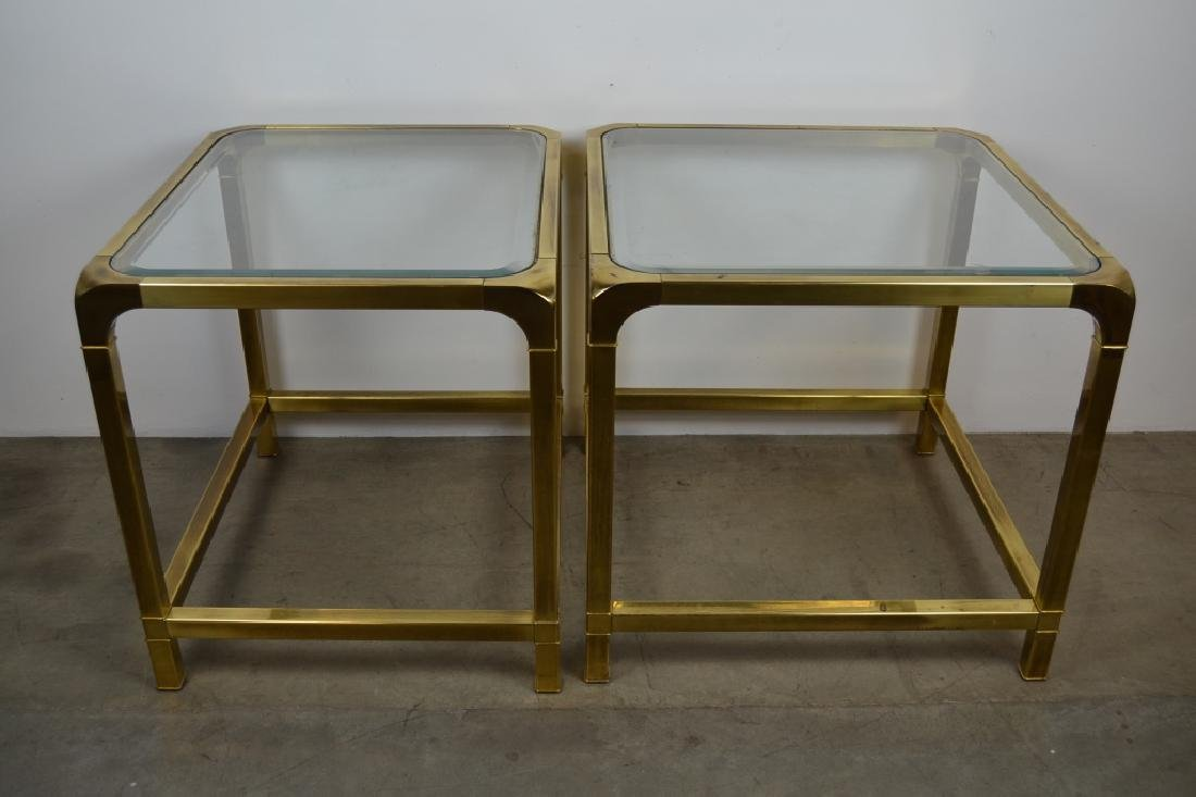 2 MASTERCRAFT GLASS TOP SIDE TABLES