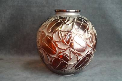 """R. LALIQUE """"GROS SCARABEES"""" AMBER GLASS VASE"""