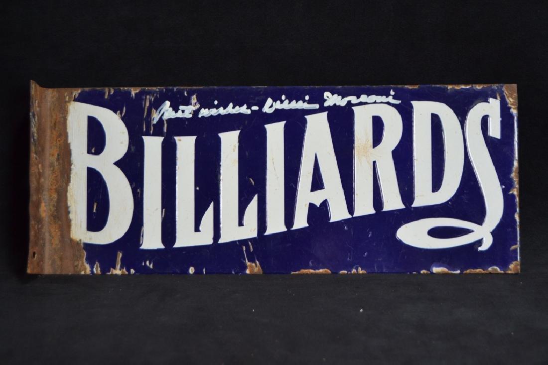 EARLY BILLIARDS PORCELAIN FLANGE SIGN