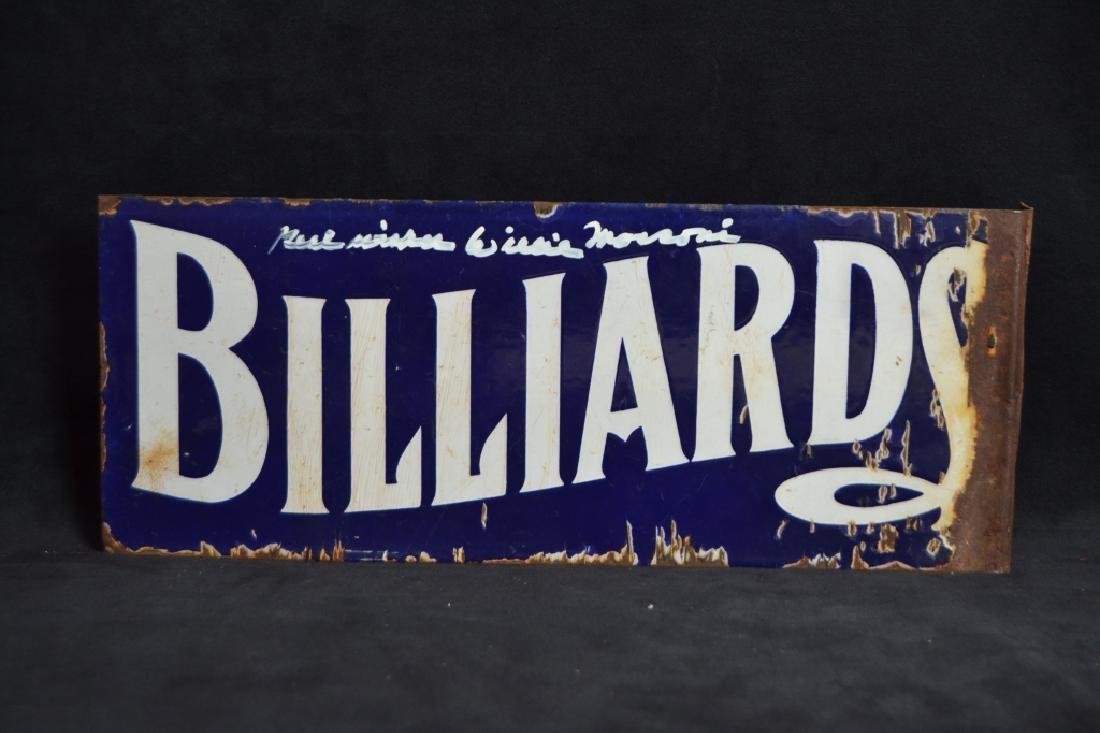 EARLY BILLIARDS PORCELAIN FLANGE SIGN - 2