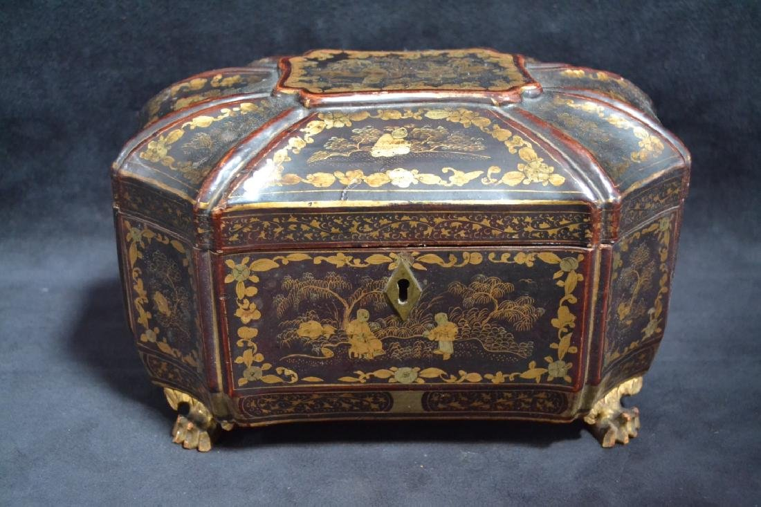 19TH CENTURY ORIENTAL LACQUERED TEA CADDY