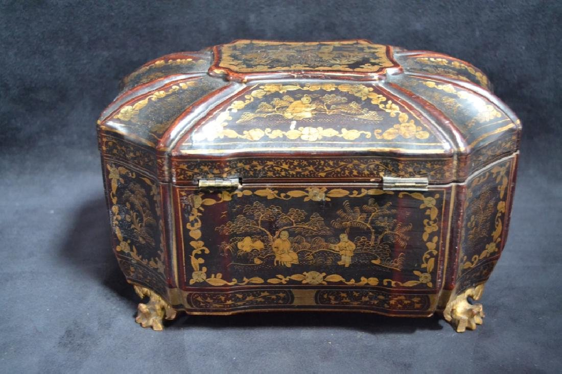19TH CENTURY ORIENTAL LACQUERED TEA CADDY - 2