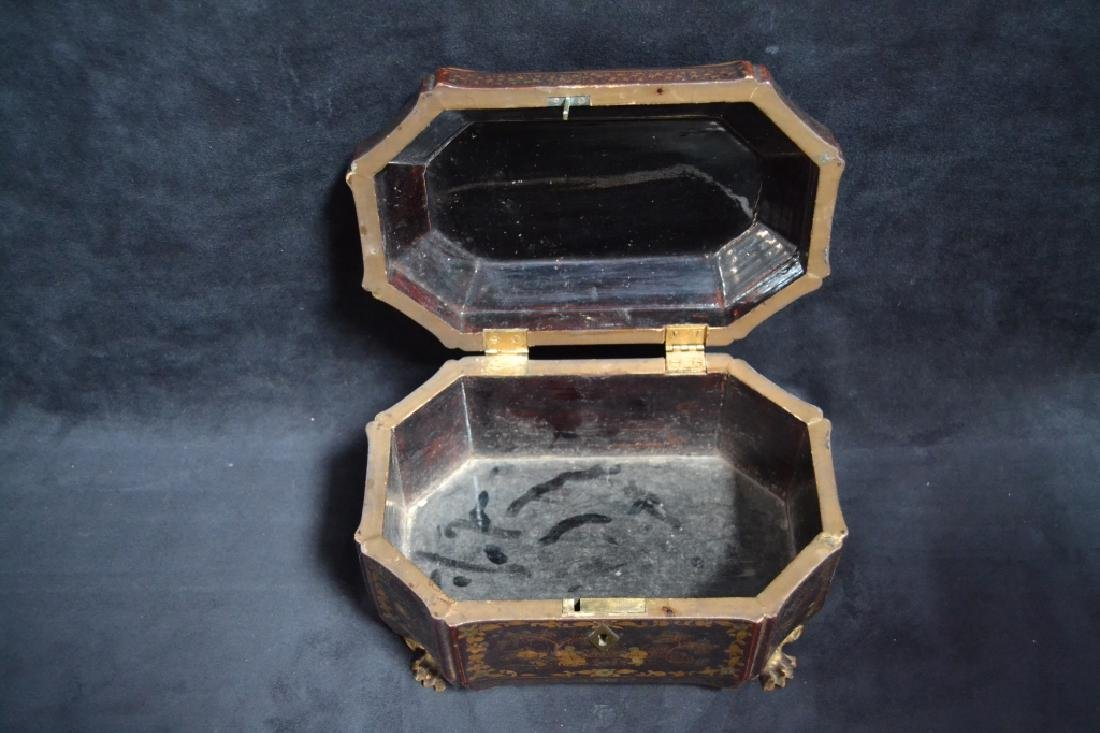 19TH CENTURY ORIENTAL LACQUERED TEA CADDY - 4
