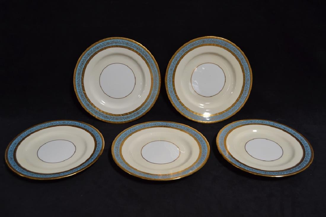 SET OF 12 MINTON PLATES W/ GOLD & BLUE RIMS