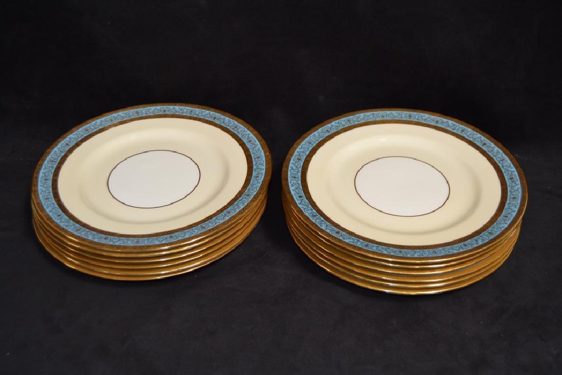 SET OF 12 MINTON PLATES W/ GOLD & BLUE RIMS - 2