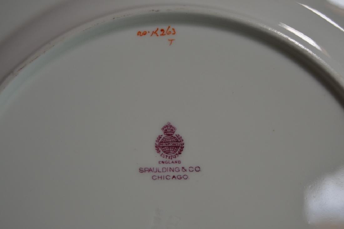 SET OF 12 MINTON PLATES W/ GOLD & BLUE RIMS - 4