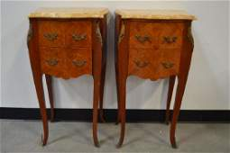 PAIR INLAID FRENCH MARBLE TOP NIGHTSTANDS